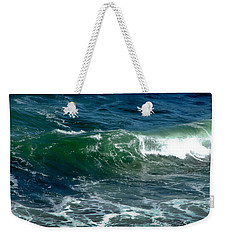 Weekender Tote Bag featuring the photograph Blue Green Wave by Kristen Fox