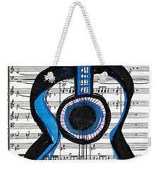 Weekender Tote Bag featuring the drawing Blue Guitar Music by Ecinja Art Works
