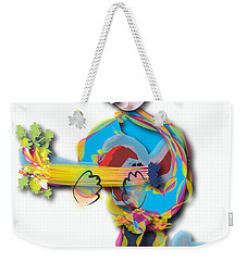 Weekender Tote Bag featuring the digital art Blue Hair Guitar Player by Marvin Blaine