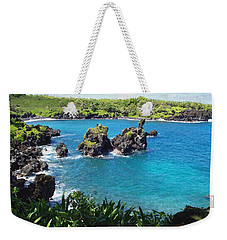 Blue Hawaiian Lagoon Near Blacksand Beach On Maui Weekender Tote Bag by Amy McDaniel