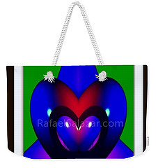 Weekender Tote Bag featuring the painting Blue Hearts by Rafael Salazar