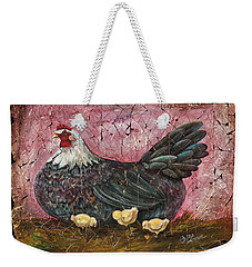 Blue Hen With Chicks Fresco Weekender Tote Bag