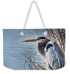 Blue Heron At Pond Weekender Tote Bag