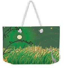 Weekender Tote Bag featuring the digital art Blue Heron Grasses by Kim Prowse