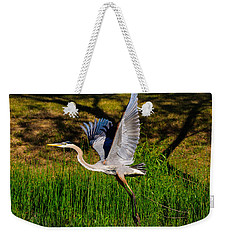 Blue Heron In Flight Weekender Tote Bag