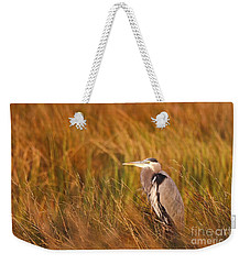 Weekender Tote Bag featuring the photograph Blue Heron In Louisiana Marsh by Luana K Perez