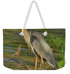 Blue Heron On The Bank Weekender Tote Bag