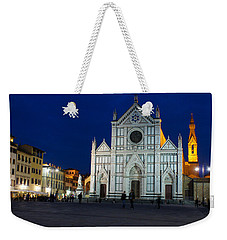Blue Hour - Santa Croce Church Florence Italy Weekender Tote Bag by Georgia Mizuleva