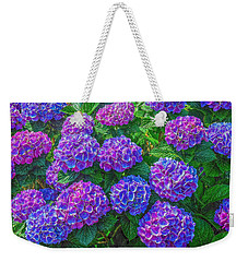 Weekender Tote Bag featuring the photograph Blue Hydrangea by Hanny Heim