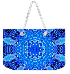 Weekender Tote Bag featuring the photograph Blue Hydrangeas Flower Kaleidoscope by Rose Santuci-Sofranko