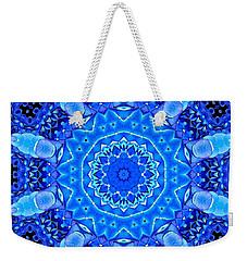 Blue Hydrangeas Flower Kaleidoscope Weekender Tote Bag by Rose Santuci-Sofranko