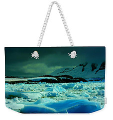 Weekender Tote Bag featuring the photograph Blue Ice Flow by Amanda Stadther