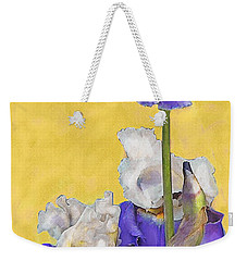 Blue Iris On Gold Weekender Tote Bag by Jane Schnetlage