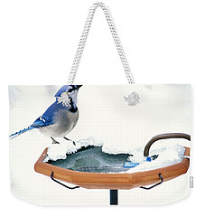 Blue Jay At Heated Birdbath Weekender Tote Bag by Steve and Dave Maslowski