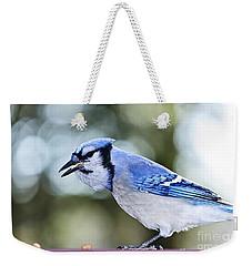 Blue Jay Bird Weekender Tote Bag