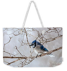 Blue Jay In Blowing Snow Weekender Tote Bag
