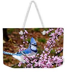 Blue Jay In The Pink Weekender Tote Bag
