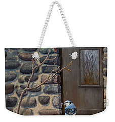 Blue Jay Weekender Tote Bag by Rob Corsetti