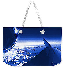 Weekender Tote Bag featuring the photograph Blue Jet Pop Art Plane by R Muirhead Art