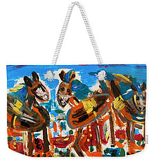 Weekender Tote Bag featuring the painting Blue Manes And Yellow Saddles by Mary Carol Williams