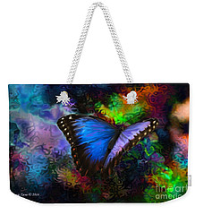Blue Morpho Butterfly Weekender Tote Bag by Annie Zeno
