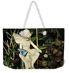 Blue Morpho On Statue Weekender Tote Bag