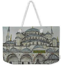 Weekender Tote Bag featuring the painting Blue Mosque Istanbul Turkey by Malinda  Prudhomme
