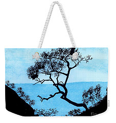 Weekender Tote Bag featuring the drawing Blue Mountain by D Hackett
