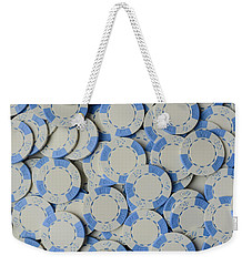 Blue Poker Chip Background Weekender Tote Bag
