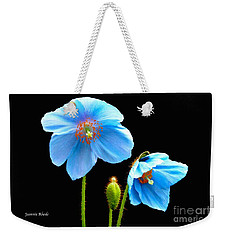Blue Poppy Flowers # 4 Weekender Tote Bag by Jeannie Rhode