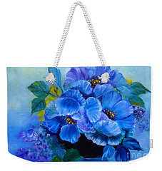 Weekender Tote Bag featuring the painting Blue Poppies by Jenny Lee