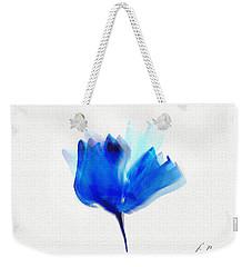 Blue Poppy Silouette Mixed Media  Weekender Tote Bag
