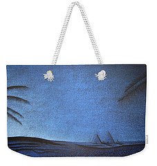 Weekender Tote Bag featuring the drawing Blue Pyramid by Mayhem Mediums