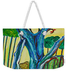 Blue Remembered Tree Weekender Tote Bag