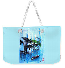 Weekender Tote Bag featuring the painting Blue River  by Roberto Prusso