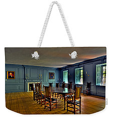 Weekender Tote Bag featuring the photograph Blue Room Wren Building by Jerry Gammon