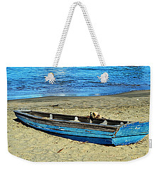 Blue Rowboat Weekender Tote Bag by Holly Blunkall