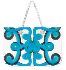 Weekender Tote Bag featuring the digital art Blue Scroll Square by Christine Fournier
