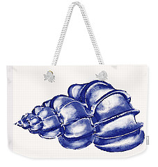 Weekender Tote Bag featuring the digital art Blue Shell by Jane Schnetlage