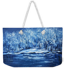 Weekender Tote Bag featuring the painting Blue Silence by Vesna Martinjak
