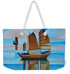 Blue Skies And Cerulean Seas Weekender Tote Bag by Tracey Harrington-Simpson