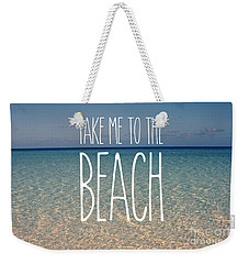 Blue Sky Golden Beach Sand Calm Ocean Waters Weekender Tote Bag