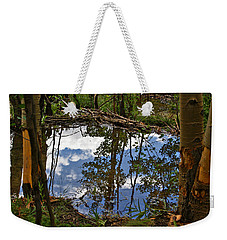 Weekender Tote Bag featuring the photograph Blue Sky Reflecting by Jeremy Rhoades
