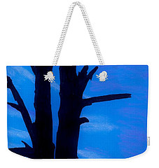 Weekender Tote Bag featuring the drawing Blue Sky Tree by D Hackett