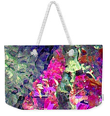Weekender Tote Bag featuring the photograph Blue Tree Pink Leaves by Stephanie Grant