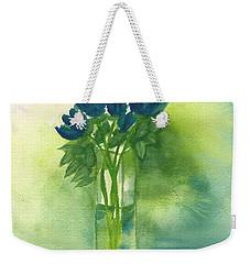 Blue Tulips In Glass Vase Weekender Tote Bag
