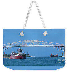 Blue Water Bridge And Freighters Weekender Tote Bag