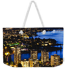 Weekender Tote Bag featuring the photograph Blue Water Kitsilano Beach Mcdix by Amyn Nasser