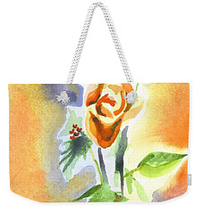 Weekender Tote Bag featuring the painting Blue With Redy Roses And Holly by Kip DeVore
