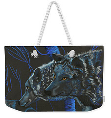 Blue Wolves Weekender Tote Bag by Mayhem Mediums